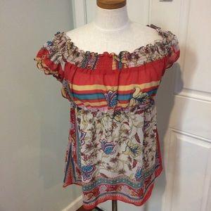 Floral off shoulder peasant top blouse flowy boho